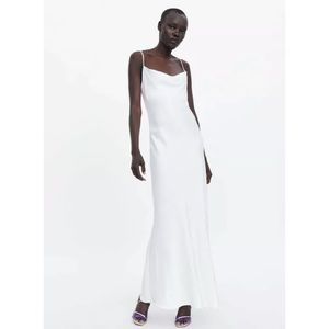Zara white satin camisole maxi dress